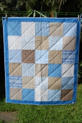 """Custom Made Cot Quilt """"Brown/Blues"""""""