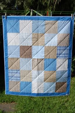 "Custom Made Cot Quilt ""Brown/Blues"""