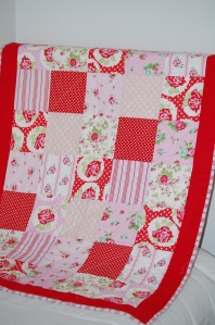 "Custom Quilt ""Reds/Pinks/Greens"""