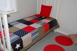 "Custom Single Quilt ""Red/Navy/MilitaryGreen"""