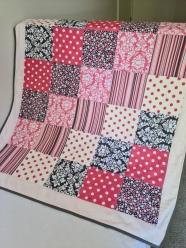 Cot Quilt Grey/Pink No.1