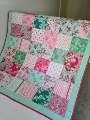 Cot Quilt Floral Mint/Pink No.1